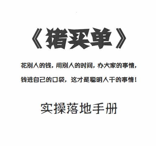 一诺老师《猪买单》实操落地手册pdf电子书