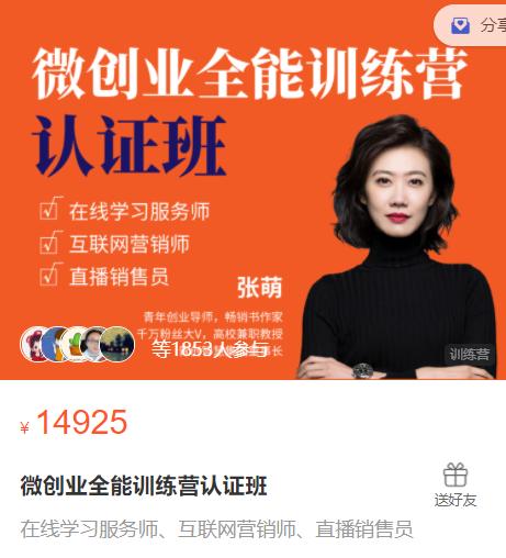 张萌萌姐微创业全能训练营认证班课程视频.png