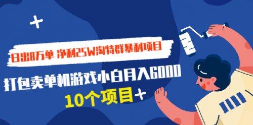 净利25W淘特群暴利项目+打包卖单机游戏小白月入6000 (10个项目)